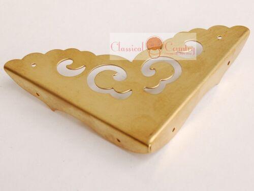 4pc Antique Furniture Brass Hardware Trunk Cabinet Corner Copper Protector 3.1/'/'