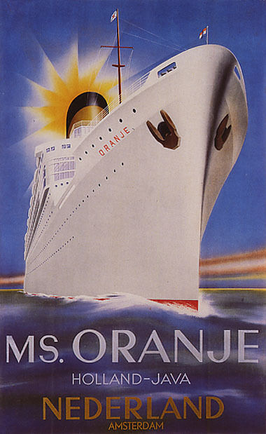 SHIP ORANJE AMSTERDAM NETHERLANDS HOLLAND TRAVEL VINTAGE POSTER REPRO