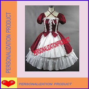 Vintage-Goth-lolita-gorgeous-white-lace-burgundy-dress