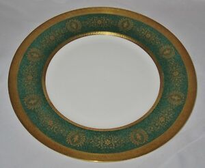Coalport-LADY-ANNE-GREEN-Gold-Encrusted-Dinner-Plate-10-3-4