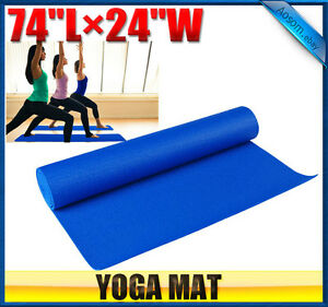 BLUE-74-x-24-x-1-4-Thick-yoga-Mat-Pad-for-Exercise-Fitness-Yoga-w-carry-bag