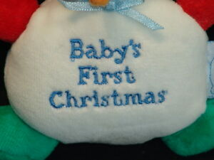 GUND BABY'S FIRST CHRISTMAS SNOWMAN AND RATTLE PLUSH STUFFED ANIMAL ORNAMENT