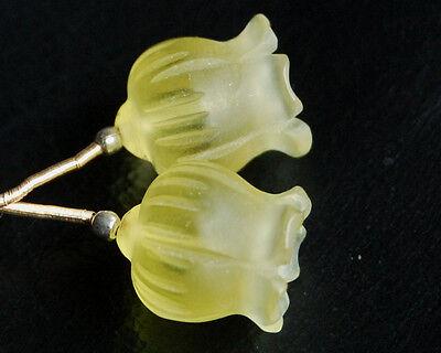 Natural Lemon Quartz Carved Flower Briolette Matched Pair Gemstone Beads