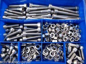 360er-Boite-acier-inox-creux-hexagonal-vis-DIN-912-ecrous-M6-Boite-SET