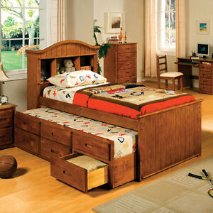 Solid wood american oak finish twin size captain bed w trundle drawers ebay - Solid wood trundle bed with drawers ...