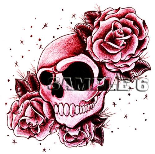 Skull /& Roses Iron On Transfer for light cotton//mix fabrics Ref 01-20