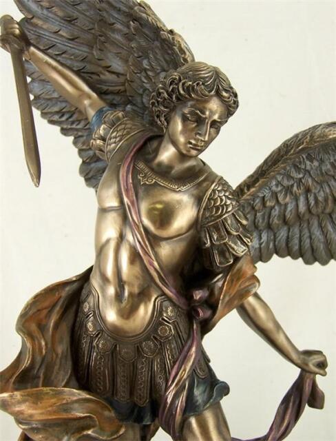 "Statue Saint St. Michael Bronze Archangel Protector 14"""