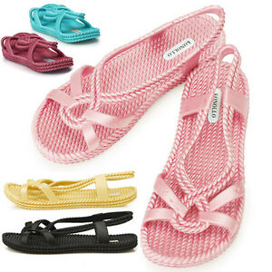 New-Womens-Aqua-Summer-Jelly-Pretty-Beach-Sandals-Shoes-Multi-colored