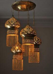 4-in-1-Moroccan-Brass-Ceiling-Light-Fixture-Lamp-Chandelier