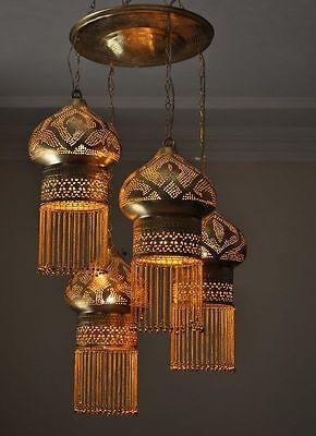 4 in 1 Moroccan Brass Ceiling Light Fixture / Lamp / Chandelier