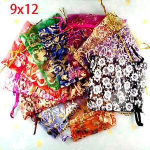 1000 Random Mixed Bronzing Drawable Organza Wedding Gift Bags&Pouches 12x9cm