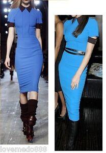 NEW-Casual-Career-NO-BELT-contrast-collar-cuff-zipper-back-open-PENCIL-A-dress