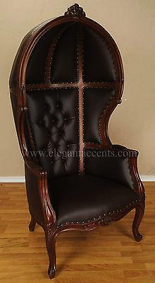 Brown Finish Porter Chair - Balloon, Bonnet, Canopy, Dome, Egg Shape Throne
