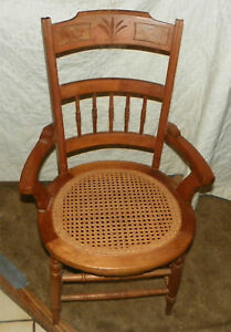Walnut-Carved-Armchair-Parlor-Chair-with-caned-seat-AC85
