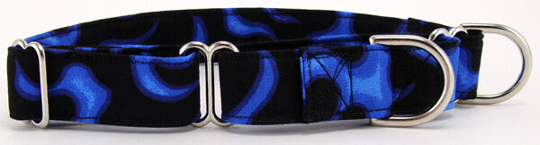 """Blue Flames Martingale Pet Dog Collar 1"""",1.5""""& 2"""" Avail"""