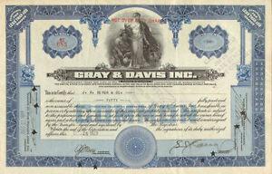 Gray & Davis > old auto parts stock certificate share