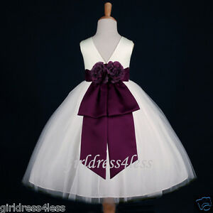 IVORY-PLUM-EGGPLANT-DARK-PURPLE-PAGEANT-FLOWER-GIRL-DRESS-12-18M-2-4-6-8-10-12