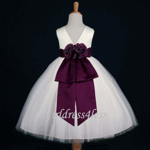 IVORY/PLUM EGGPLANT DARK PURPLE PAGEANT FLOWER GIRL DRESS 12-18M 2 4 6 8 10 12
