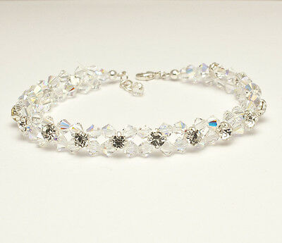 New Crystal AB Silver Flower Bracelet made with Swarovski Elements