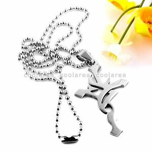 Mens-Stainless-Steel-Cross-Pendant-Ball-Chain-Necklace-19-034-Gothic-Punk-Fashion