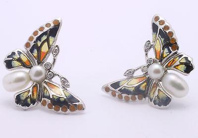 Nicole Barr-Sterling Silver, Orange Enamel, Diamond & Pearl Butterfly Earrings