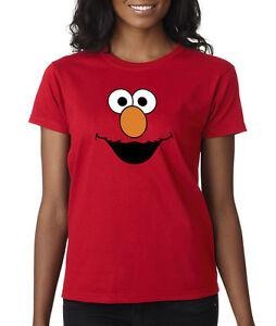 Elmo-Face-Sesame-Street-Character-Cartoon-Ladies-Tee-Shirt