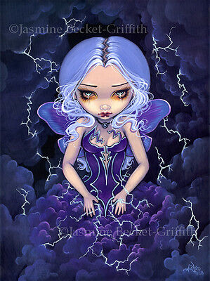 Jasmine Becket-Griffith art print SIGNED Dress of Storms fairy clouds lightning