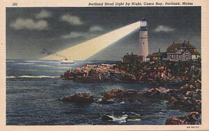 Postcard-Portland-Head-light-by-Night-Casco-Bay-Portland-Maine