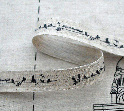 Linen Cotton Fabric Ribbon Sewing Label Bird on Branch