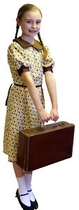 Girls-1940s-wartime-FLORAL-DRESS-Costume-set-all-ages