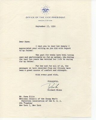 RICHARD NIXON signed letter 1956 Office of the VP letterhead
