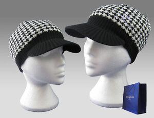 Henri-Lloyd-Women-Signature-Peaked-Beanie-Hat-Cap-Black-White-Dogtooth-AUTHENTIC