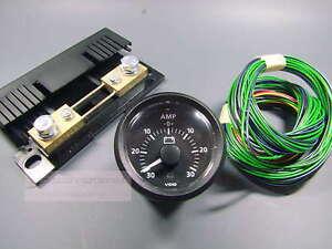 VDO-AMPEREMETER-30A-INSTRUMENT-GAUGE-LED-KOMPLETT-MIT-SHUNT-classic-schwarz