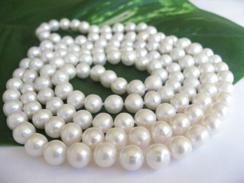 """47/"""" 120cm AAA Long 8mm Real Cultured Freshwater Pearl Necklace Gift RRP £100"""