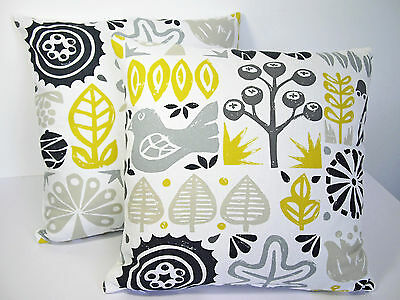 Harlequin Scion Woodland Scandinavian Vtg/Retro 60s  Fabric Cushion Cover-YELLOW