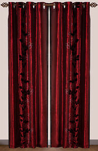 Set-of-2-Drapes-Black-and-Silver-Vine-on-Burgundy-Drapery-with-grommets-lining