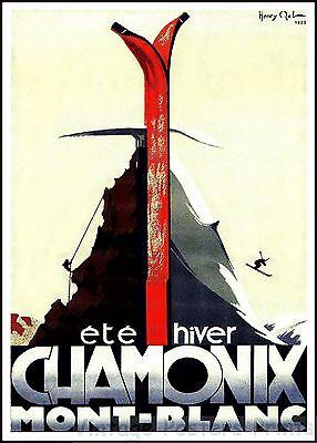 Chamonix Mont Blanc 1933 French Vintage Skiing Sports Poster Art Print