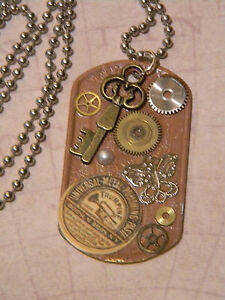 Steampunk-Collage-Pendant-Watch-Gears-Cogs-Key-Butterfly-Dog-Tag-Necklace-D152
