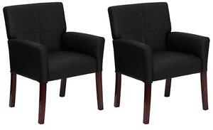 SET-OF-2-BLACK-LEATHER-BOX-ARM-GUEST-RECEPT-OFFICE-CHAIRS-WITH-MAHOGANY-LEGS