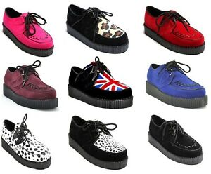 NEW-GORGEOUS-WOMEN-LACE-UP-PLATFORM-CREEPERS-GOTH-PUNK-SHOES-SIZE-3-8