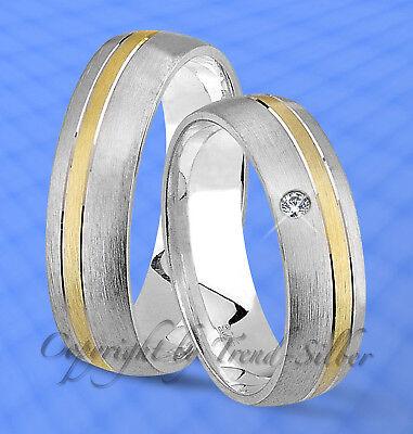 2 St Trauringe Gold Platiert Mit Stein U. Gravur J110-1 Lange Lebensdauer