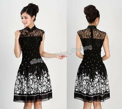 Chinese Fashion Women's Slim Lace Crochet Cheongsam Evening Dress/Qipao