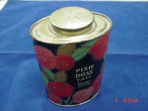 Vintage Pixie Rose Talc Tin Lander New York Powder Rare Lithographed Container