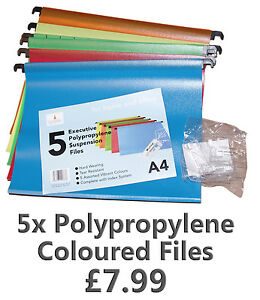 5x-A4-Plastic-Polypropylene-Suspension-Files-Multi-Coloured-Filing