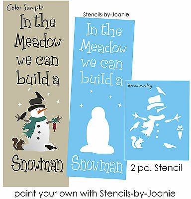 Lg STENCIL In Meadow We Build Snowman Heart Hat Crow Squirrel Primitive Signs