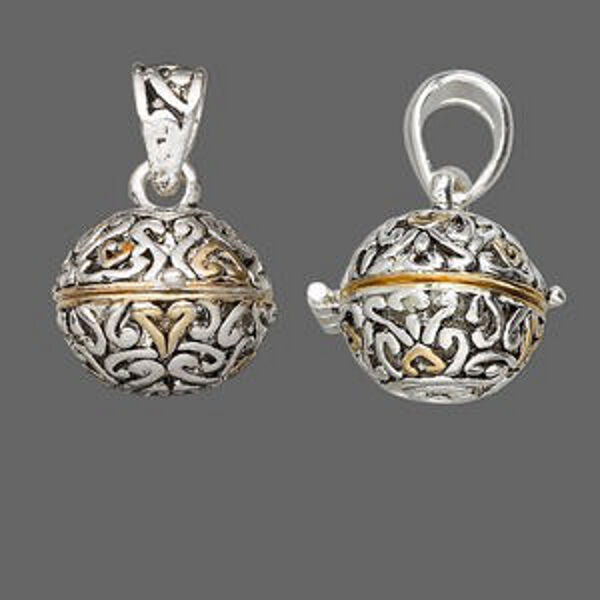 Prayer Box Pendant Locket Silver & Gold Hearts Round Sphere Jewelry