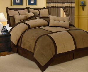 7-PC-Comforter-Set-Brown-Micro-Suede-Patchwork-Queen-Size-Bed-in-a-Bag-New