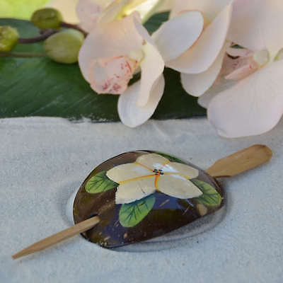 Coconut Shell Women Flower Hair Clip Pin Plumeria Luau Nautical Beach Party USA