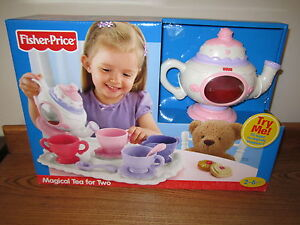 fisher price fun food magical tea kettle pot set new box for two 2 cookies tray. Black Bedroom Furniture Sets. Home Design Ideas
