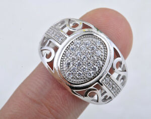 Men-039-s-ring-Micro-Pave-Prong-Set-AAA-Hip-Hop-CZ-925-Sterling-Silver-Ring-BJ03